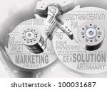 Hard drive with text cloud. Industrial background. - stock photo
