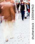 busy people walking in the city - stock photo
