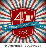 Vector independence day badge / poster - retro vintage version - stock vector