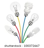 Ideas - Various Lightbulbs attached to colored cables isolated on white background. Golf Ball, Candle, Normal and Saver type Lightbulbs. - stock photo