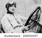 Portrait of female driver - stock photo