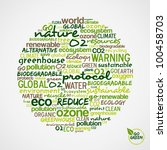 Go Green. Words cloud about environmental conservation in circle shape. - stock photo