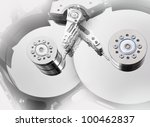 Industrial background from a opened hard drive. File sharing concept. - stock photo