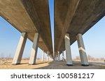 Under new highway bridge in Poland - stock photo