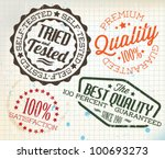 Vector retro teal vintage stamps for quality on old squared paper - stock vector