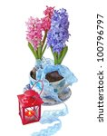 Hyacinths in a beautiful pot with a lace ribbon and flashlight on a white background - stock photo