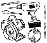 Doodle style power tools illustration in vector format - stock vector