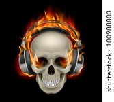 Cool Illustration of Flaming Skull Wearing Headphones - stock vector