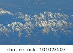 aerial view of Alps mountains in spring - stock photo