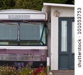 """Old bus called  """"wilderness"""" serving as a summer house - stock photo"""