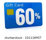 one gift card with the number sixty and percent symbol (3d render) - stock photo