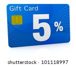 one gift card with the number five and percent symbol (3d render) - stock photo