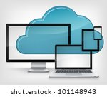 Cloud Service Isolated on Grey Gradient Background. Vector Illustration. - stock vector