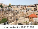 View of Jerusalem roofs - stock photo