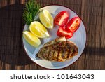 Roasted grilled chicken breast served with tomatoes - stock photo