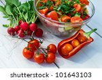 Salad made ??with fresh vegetables - stock photo