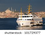 View of passenger ship and Suleymaniye Mosque in Istanbul, Turkey - stock photo