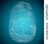 illustration of impression of finger print on abstract background - stock vector