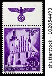 GERMANY - CIRCA 1940: A stamp printed in Germany showing buildings of Poland (Sandomiersk-Bastion, Krakow Castle) , circa 1940 - stock photo