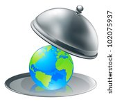 Illustration of the world globe on a silver platter. Concept for world on plate (opportunity or success), or environmental stewardship. - stock photo