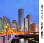 Financial District of Boston, Massachusetts viewed from Boston Harbor. - stock photo