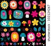 cute flowers pattern - stock vector