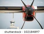 Propeller airplane at the airport, Prague, Czech Republic - stock photo