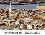 Boston North End with the prominent steeple of Old North Church - stock photo