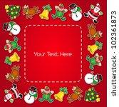 Christmas Characters Frame - stock vector