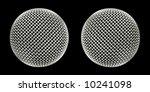 twin microphone macro abstract on black - stock photo