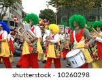 Orchestra in the carnival parade in Cyprus. - stock photo