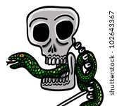 skull with snake in mouth - stock vector