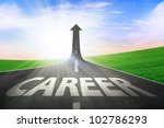 The highway road going up as an arrow, symbolizing as the way to better career - stock photo