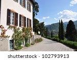 Park of Villa Serbelloni in Bellagio at the famous Italian lake Como - stock photo