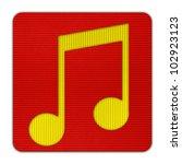 Music icon Corrugated paper craft on white background - stock photo
