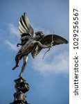 London, United Kingdom, 18th Febuary 2018:- Statue of Anteros often mistaken for Eros on the Shaftesbury Memorial Fountain in Piccadilly Circus  - stock photo