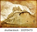 medieval  castle  - toned picture in retro style - stock photo
