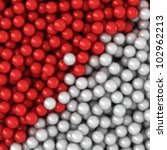 Heap of red and white balls, three-dimensional computer graphic. - stock photo