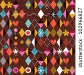 Retro style fun cartoon pattern - stock photo