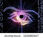 Design composed of eye outlines, numbers, fractal and abstract design elements as a metaphor on the subject of technologies, progress, artificial intelligence, virtual reality and digital imaging - stock photo