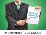 Businessman holding a paper with printed marketing terminology. - stock photo