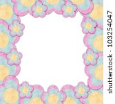 Paper flowers frame in white background isolated - stock photo