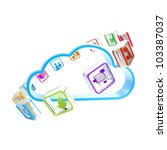 Mobile application cloud technology market icon isolated on white - stock photo