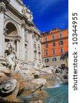 Rome. Trevi's Fountain - famous landmark in Rome - stock photo