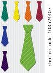 Bright pin stripe silk tie stickers in vector format. - stock vector
