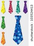 Bright bubble silk tie stickers in vector format. - stock vector
