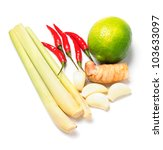 Tom yum soup ingredients - stock photo