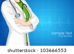 illustration of lady doctor with stethoscope on medical background - stock vector