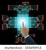 Business people push the electronic circuit board isolated on black, technology concept. - stock photo