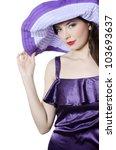 Portrait of beautiful elegant woman in hat - stock photo